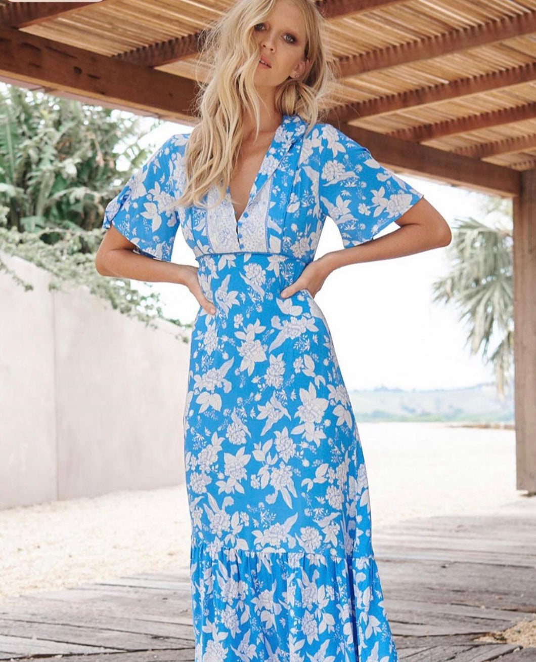 Jaase Riviera Blue & White Floral Dress