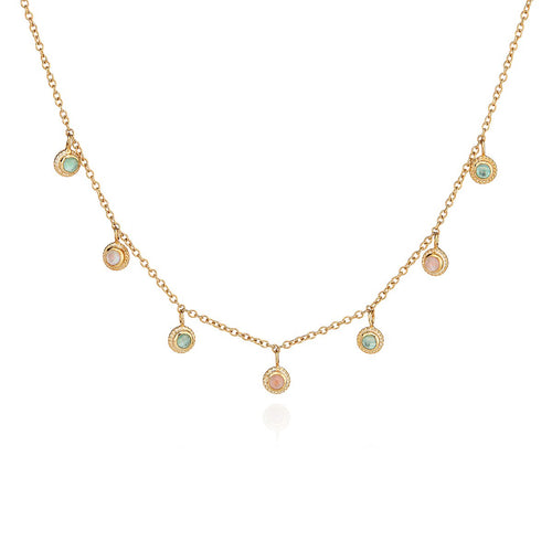 Anna Beck: GUAVA AND GREEN AMETHYST COLLAR NECKLACE - GOLD