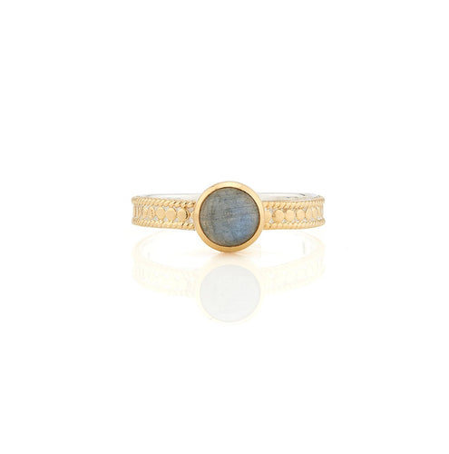 Anna Beck: LABRADORITE SINGLE STONE STACKING RING - GOLD