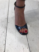 Load image into Gallery viewer, Lola Cruz Metallic Mock Croc Navy Sandals