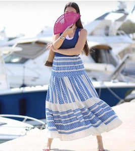 Devotion Sara Maxi Skirt - Blue & White