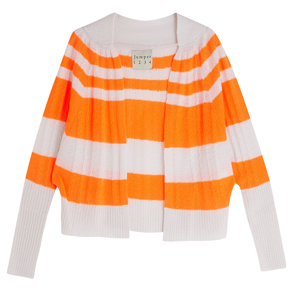 Jumper 1234 Stripe Cable Cardigan in Pale Pink and Orange