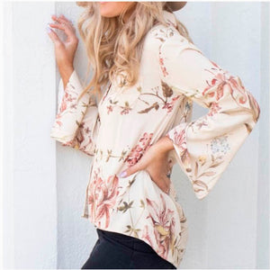 Chaser Heirloom Floral Bell Sleeve Blouse