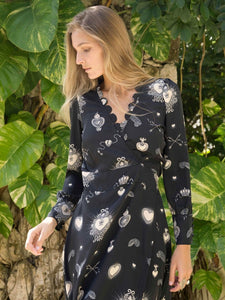 Stardust Black Scallop Pattern Dress