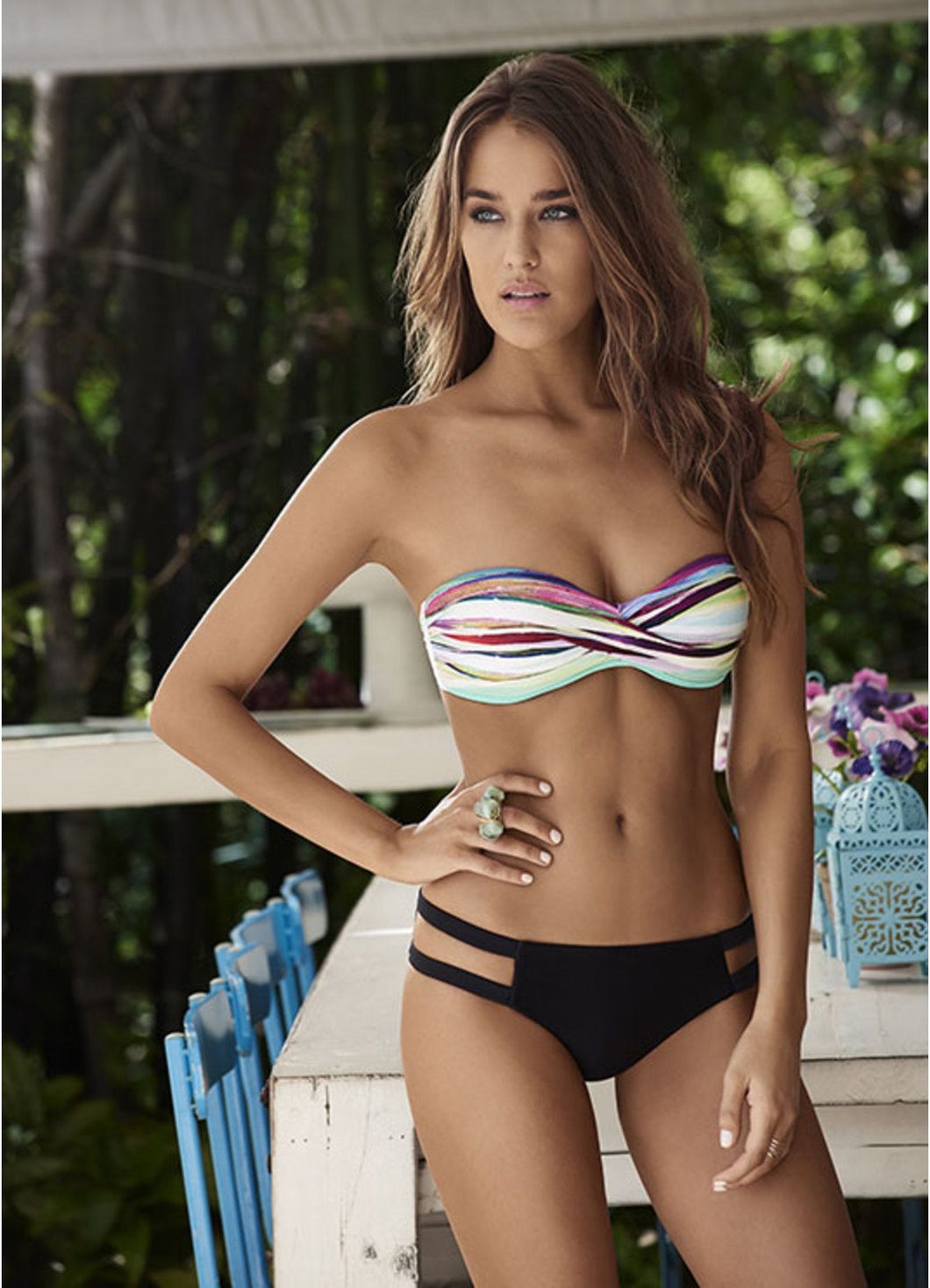 PilyQ Oasis Goddess Bandeau Bikini Top and Bottoms