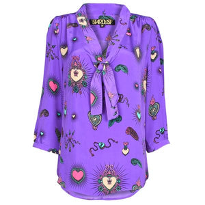 Stardust Candy Heart Blouse Purple