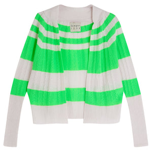 Jumper 1234 Stripe Cable Cardigan in Pale Pink and Neon Green