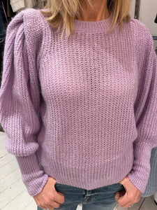 Puff Sleeve Knitted Crew Neck Jumper