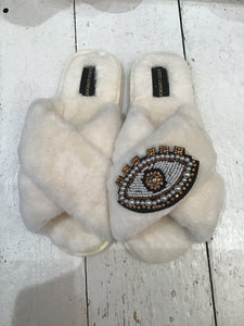 Laines Faux Fur Sparkly Evil Eye Slippers