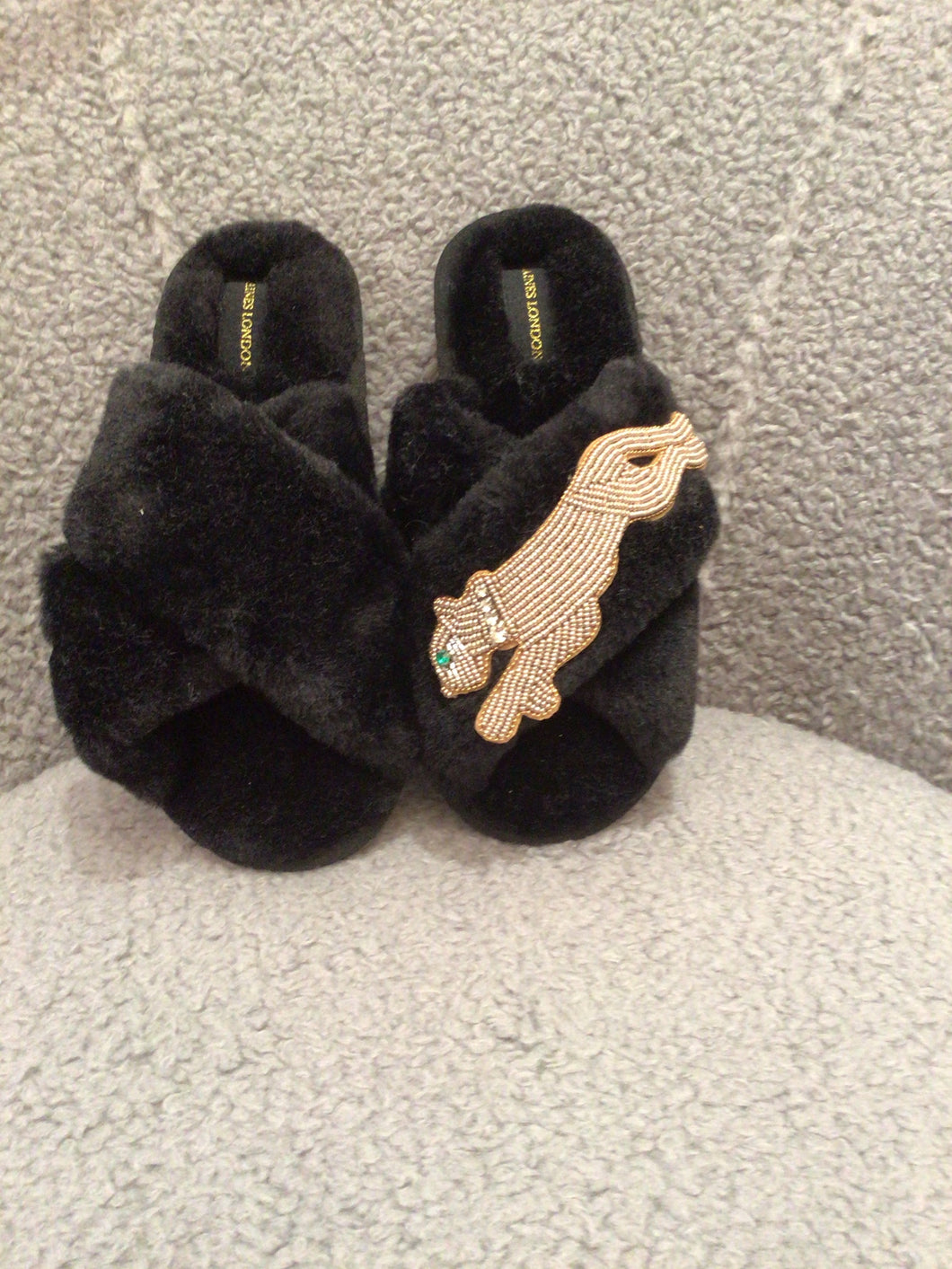 Laines of London Faux Fur Slippers - Panther