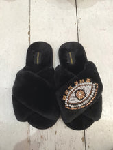 Load image into Gallery viewer, Laines Faux Fur Sparkly Evil Eye Slippers