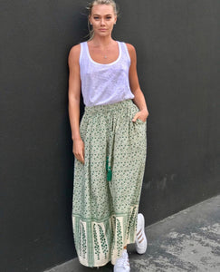 Goa Paris Green Patterned Maxi Skirt