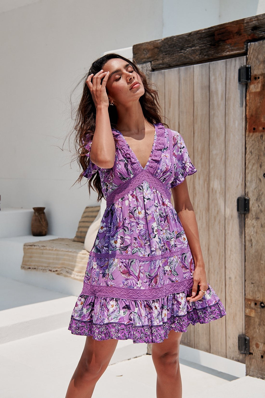 Jaase Rhodium Print Mini Dress Lilac