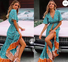 Load image into Gallery viewer, Teal Boho Floral Maxi Dress