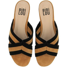 Load image into Gallery viewer, Bibi Lou Tan and Black Suede Sliders