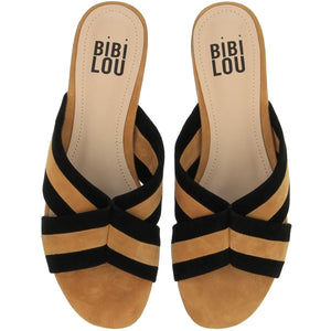 Bibi Lou Tan and Black Suede Sliders