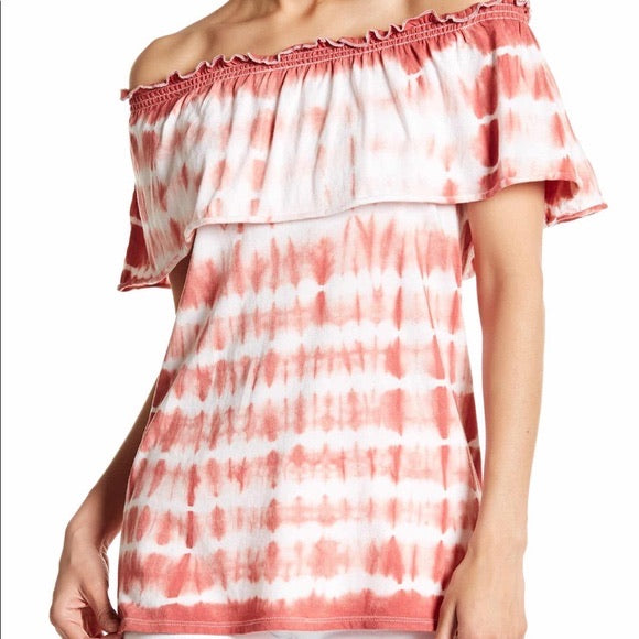 Chaser Tie Dye Off The Shoulder Ruffle Top