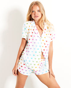 Stripe and Stare Multi Heart Short Pyjama Set