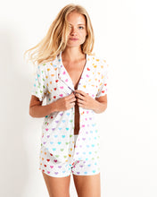 Load image into Gallery viewer, Stripe and Stare Multi Heart Short Pyjama Set