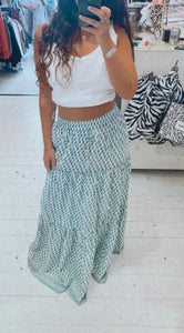 Goa Paris Blue Patterned Maxi Skirt