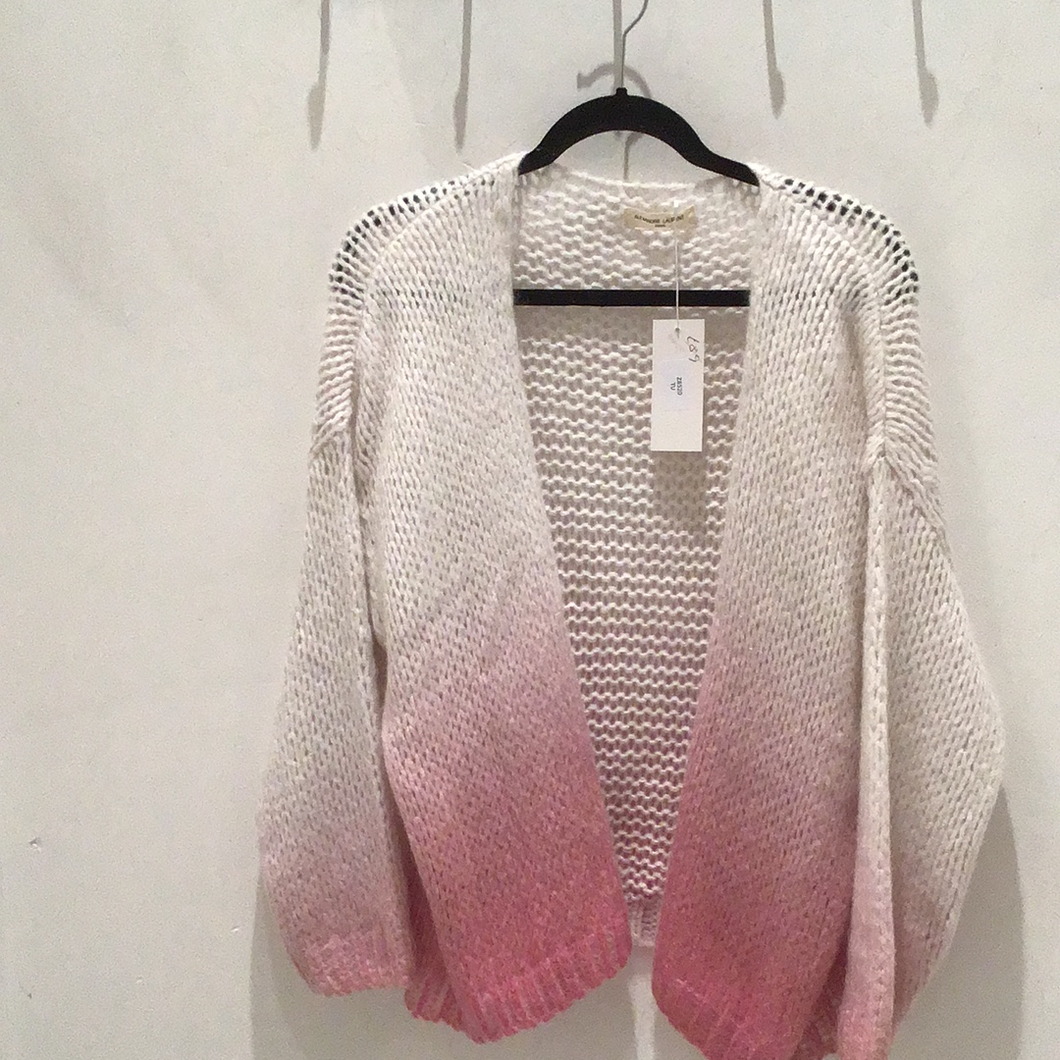 Cream and Pink Ombré Cardigan