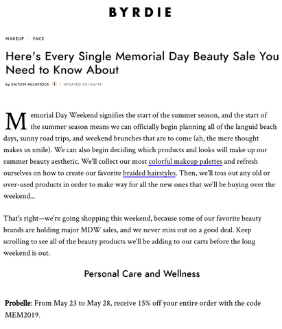Byrdie Memorial Day Discount