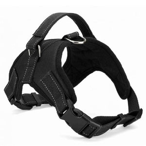 Adjustable pet collar harness - black / L