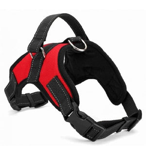 Adjustable pet collar harness - red / L