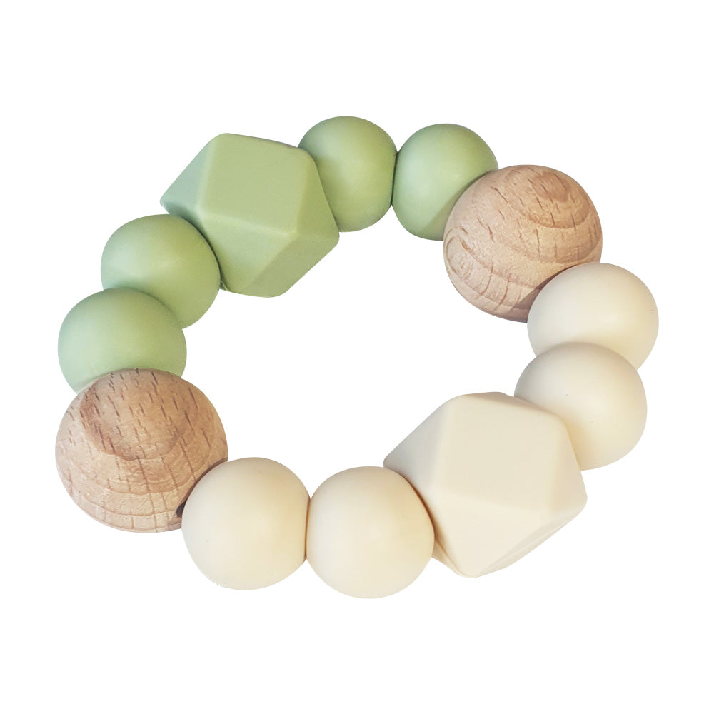 Textured Teether - Olive & Cream
