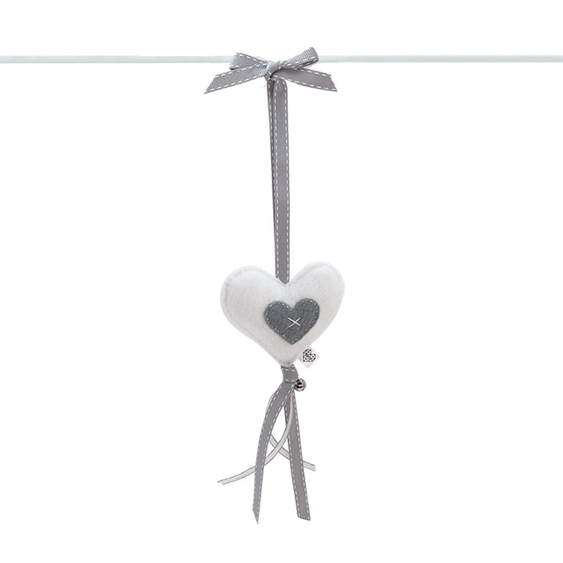 Heartfelt Dingle Dangle - Heart (White & Grey)