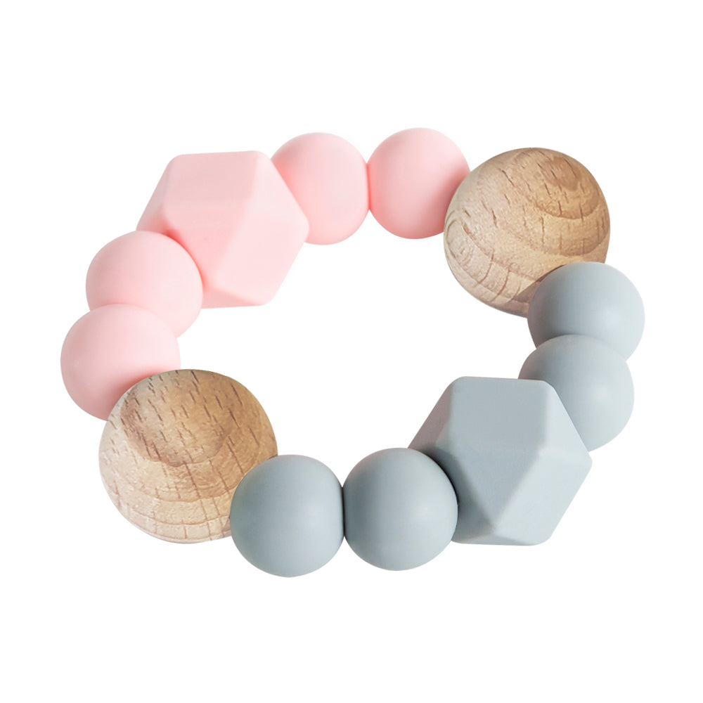 Textured Teether - Rose & Grey