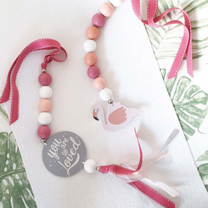 Ruby Melon Natural Dingle Dangle Set Flamingo