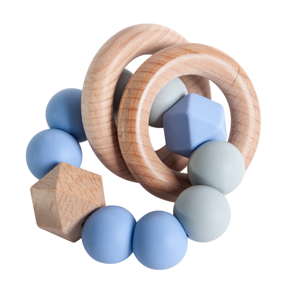 Rattle Ring Teether - Blue & Grey