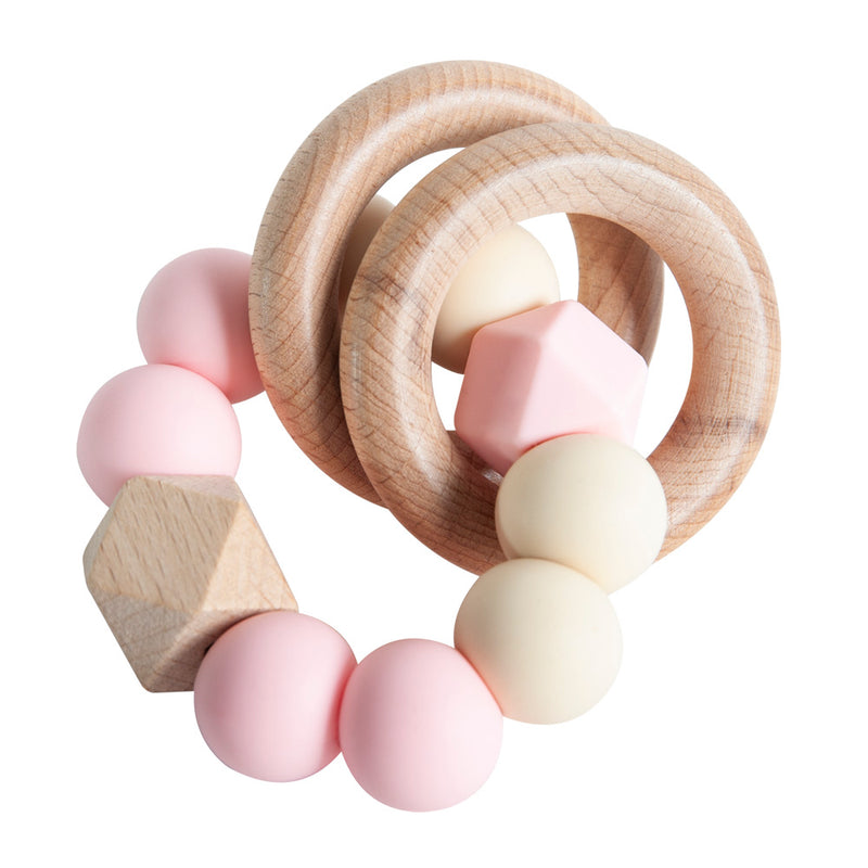 Rattle Ring Teether - Rose & Cream