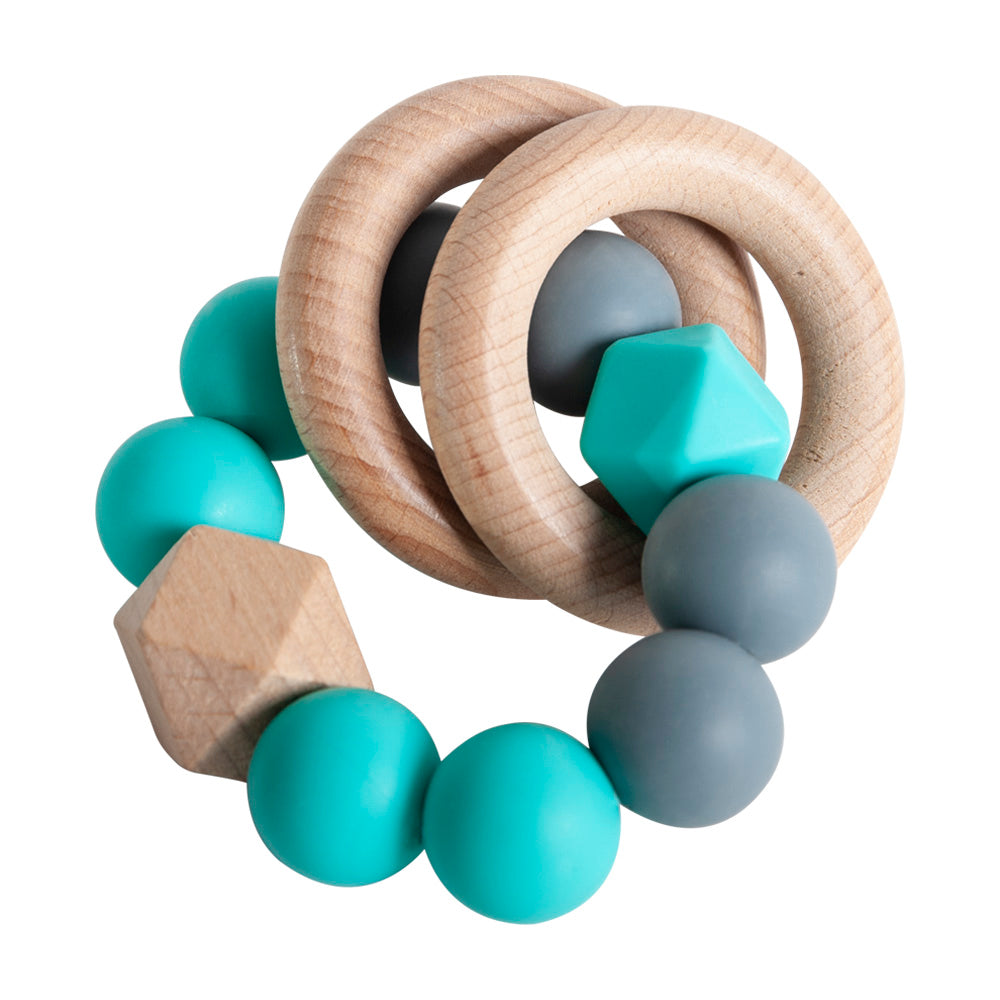Rattle Ring Teether - Turquoise & Dark Grey