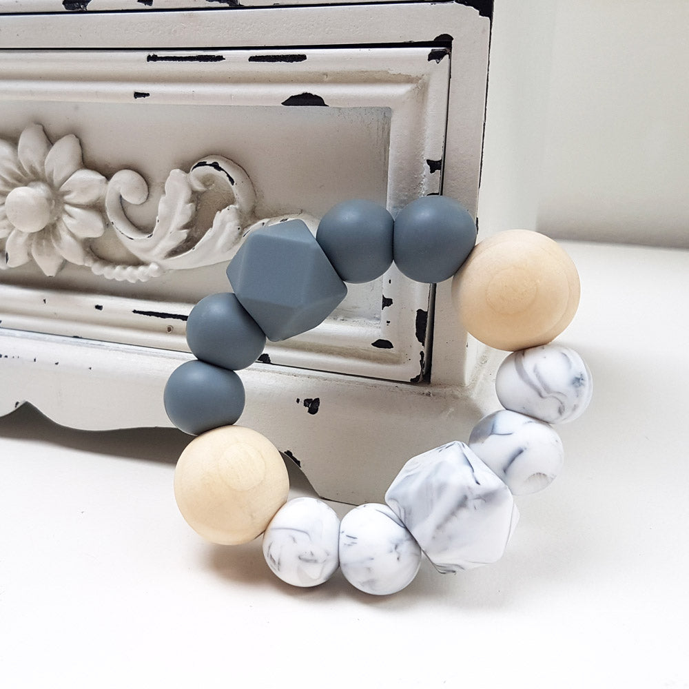 Textured Teether - Marble & Dark Grey