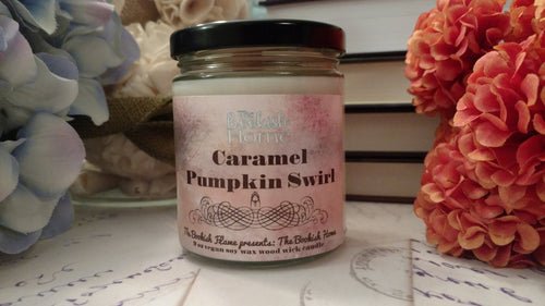 Caramel Pumpkin Swirl | 9 oz Wood Wick Soy Candle | The Bookish Home Collection