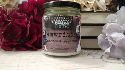 NaNoWriMo #amwriting | Pepperming & Cinnamon | 9 oz Jar | Soy Wax Candle