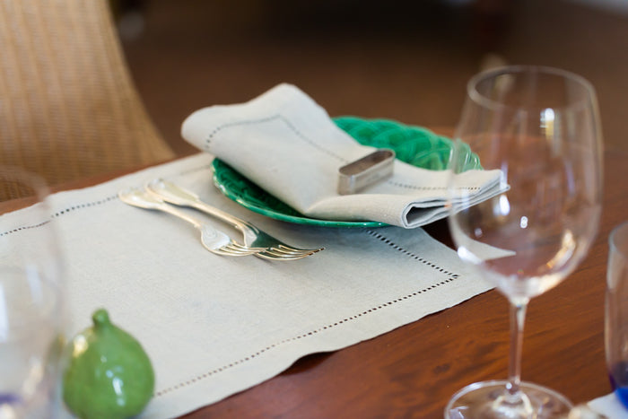 drawn-thread work fine linen napkins (pair)