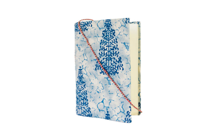 recycled cotton notebook with block print cover & tie