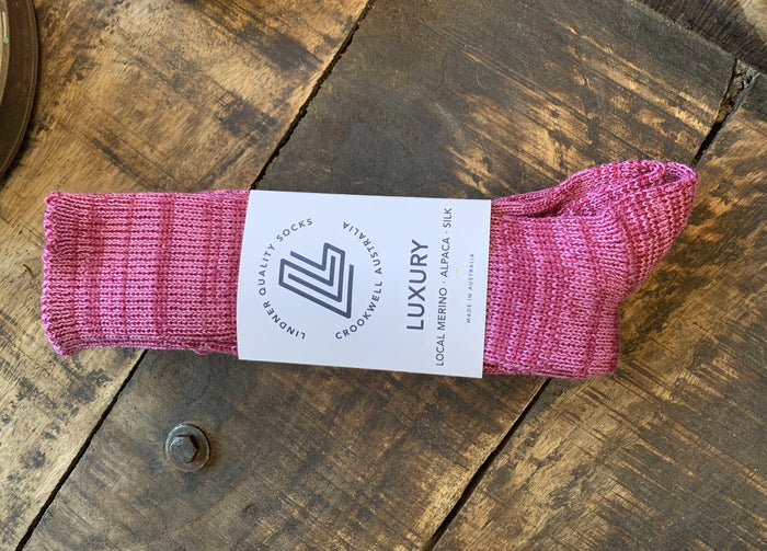 ribbed silk merino alpaca sock pink