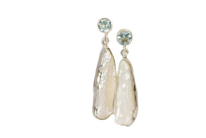 baroque pearl drop & bezel set stud earring