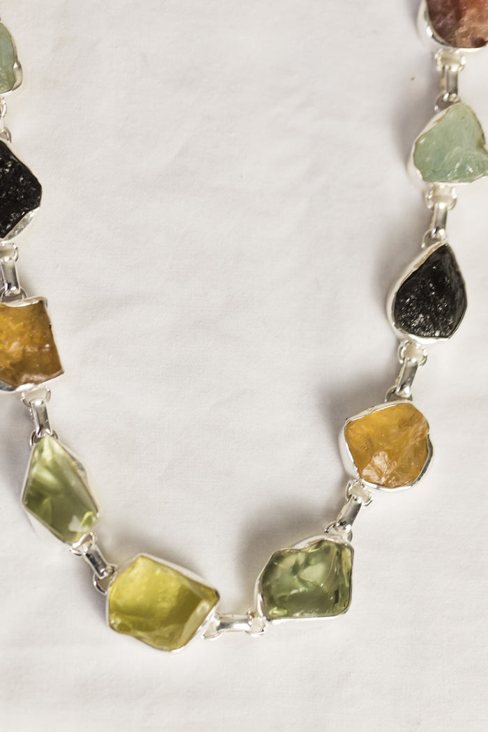 rough-cut large semi-precious stone necklace and bracelet