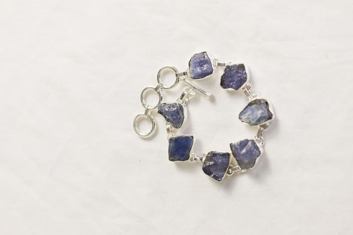 rough-cut semi-precious stone sterling silver bracelet