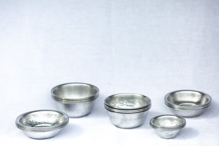 hammered metal tea light dishes