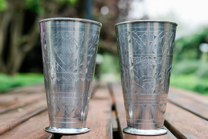 Handcrafted embossed lassi cups