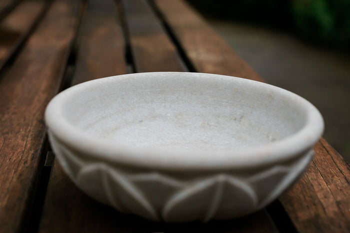 carved marble exterior petal bowl