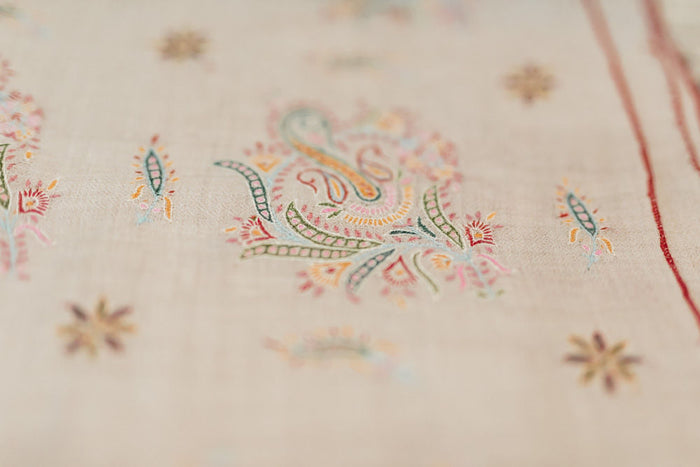 intricately hand embroidered heirloom cashmere shawl
