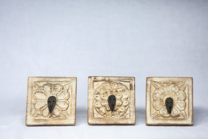 carved floral whitewashed hooks