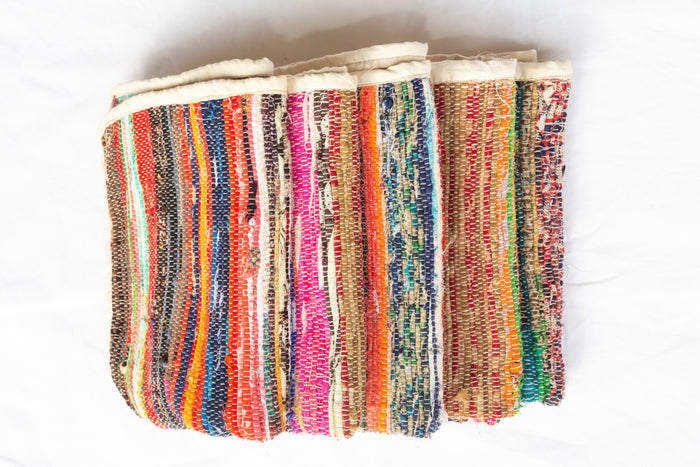 woven recycled-fabric bath mats
